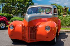 Orange and gray hot rod car. At Victorian Hot Rod & Cool Rides Show in Melbourne, Australia Stock Photo