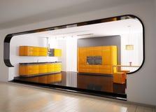 Orange gray kitchen 3d Stock Photography