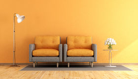 Orange and gray living room Royalty Free Stock Images