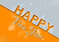 Orange Gray New Year`s Greeting Card stock illustration