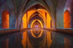 Orange and Gray Tunnel Painting Royalty Free Stock Image