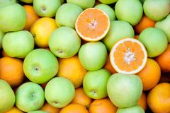 Orange and green apples Stock Photo