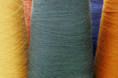 Orange and green background from threads and yarns isolated Stock Photography