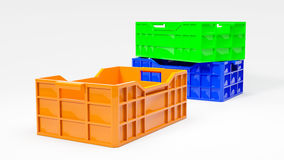 Orange green and blue boxes used in transport 3d illustration. Orange green and blue boxes used in transportation 3d illustration Stock Image