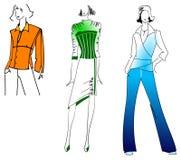Orange Green Blue Girls. Three Orange Green Blue Fashion Girls. Drawing Stock Images