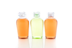 Orange and green bottle of shampoo, gel, soap Royalty Free Stock Photography