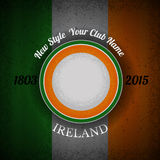 Orange green circle frame for your lable on Irish flag grunge background Royalty Free Stock Photos