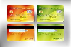 Orange and green color realistic credit or debit card. Of business and banking with vector illustration design eps10 Royalty Free Stock Photo