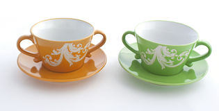 Orange and green cup Royalty Free Stock Image