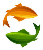Orange and green fish Stock Photos