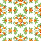 Orange and Green Floral Folk Vector Pattern stock images