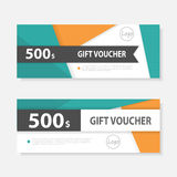 Orange green Gift voucher template with colorful pattern,cute gift voucher certificate coupon design template Royalty Free Stock Image