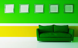 Orange-green interior in a modern style. 3d illustration Stock Photography