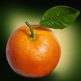 Orange with green leaf closeup Royalty Free Stock Photography