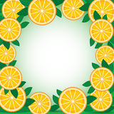 Orange with green leaves. Background. Frame. Vector. Stock Images