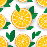 Orange with green leaves seamless pattern. Vector. Royalty Free Stock Image