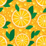 Orange with green leaves seamless pattern. Vector. Stock Photos