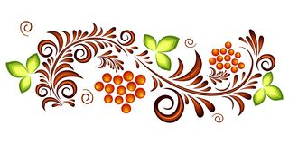 Orange and green ornament vector pattern in Russian hohloma style with red currant. Isolated. Vector illustration stock illustration