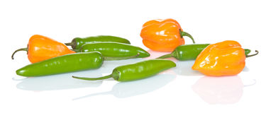 Orange And Green Peppers Royalty Free Stock Image