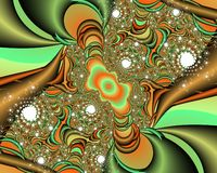 Orange green phosphorescent fractal abstract background, flowery texture. Orange green phosphorescent fractal background, flowery creative texture. Colors are royalty free stock photo