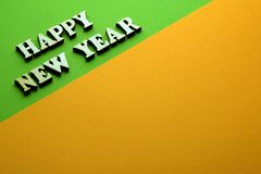 Photo for new year on the green orange background. stock photography