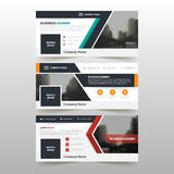 Orange Green red corporate business banner template, horizontal advertising business banner layout template flat design set Royalty Free Stock Photo