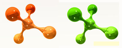 Orange and green reflective isolated molecules Royalty Free Stock Photo