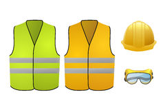 Orange and green safety vests. Safety equipment. Glasses and helmet. Vector Illustration isolated on white background Stock Photos