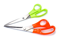 Orange and Green scissors Stock Images