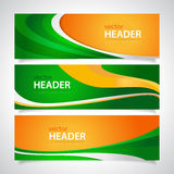 Orange and green. Set of orange and green wavy banners Stock Images