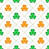 Orange and green shamrock leaves pattern vector illustration