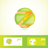 Orange green sphere globe logo Royalty Free Stock Images