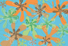 Orange and green summer blooms. Illustrated pattern floral background for all usage Stock Images