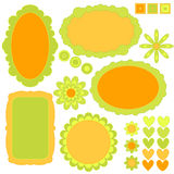 Orange and green tag or label collection, flowers. And hearts over white background vector illustration