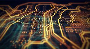 Orange,  green technology background. Orange and green technology background circuit board and code. 3d Illustration Stock Photo