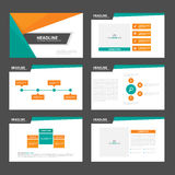 Orange green tone presentation templates Infographic elements flat design set for brochure flyer leaflet marketing Royalty Free Stock Photography