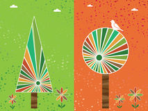 Orange and green trees. Green and orange distressed background with striped trees and flowers Royalty Free Stock Image