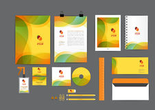 Orange, green and yellow with curve graphic corporate identity template Royalty Free Stock Images