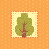 Orange greeting card with tree in love Royalty Free Stock Photography