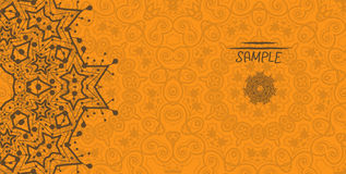 Orange Greeting Card With Tribal Ornament. Flayer