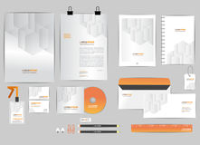 Orange and grey corporate identity template  for your business Stock Photos