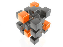 Orange and grey cubes Stock Photos