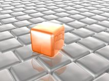 Orange and grey cubes. As abstract background, 3D illustration Stock Photography