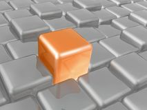Orange and grey cubes. As abstract background, 3D illustration Stock Illustration