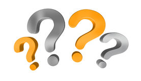 Orange and grey question marks 3D rendering Stock Photos