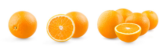 Orange and group of oranges Stock Photos