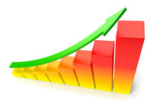 Orange growing bar chart with green arrow business success conce Stock Photo