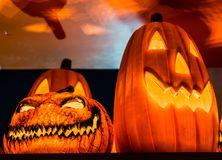 The orange growing light inside the scary pumpkins for Halloween Royalty Free Stock Photography