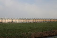 Orange growing lights in a greenhouse in nieuwerkerk aan den IJs. Sel in the Netherlands Stock Images