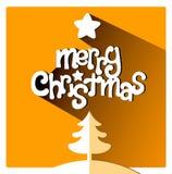 Orange Grußkarte der frohen Weihnachten mit Baum und Stern Lizenzfreies Stockfoto